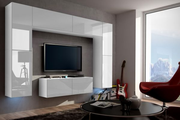 Mediawand Wohnwand 8 tlg - Konzept 3 - Weiss HGL mit LED-Beleuchtung
