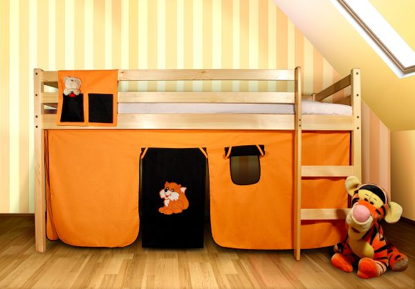 Vorhangset - FUCHS - Orange-Schwarz für Hochbet Spielbett Etagenbett