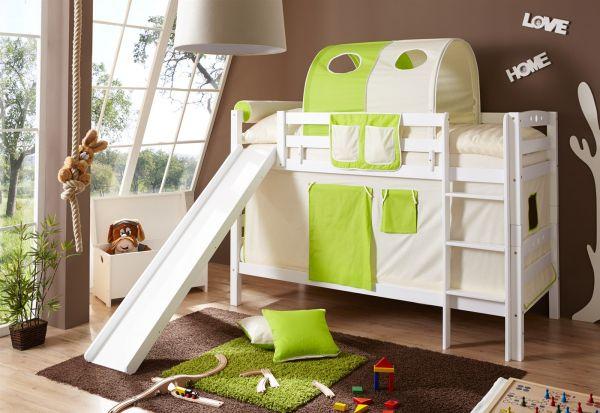 Etagenbett Grün : Etagenbett oli mit rutsche buche weiss inkl vorhang beige grün