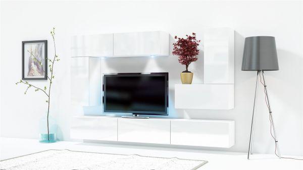 Mediawand Wohnwand 8 tlg KONZEPT 35 Weiss HGL mit LED-Beleuchtung