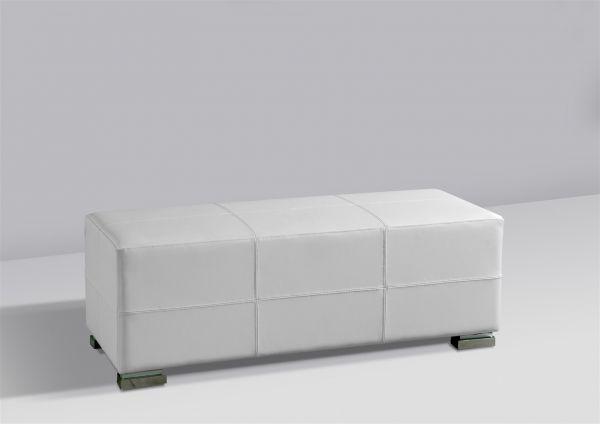 Sitzbank Polsterbank - KARIN - Kunstleder Weiss 120x45 cm