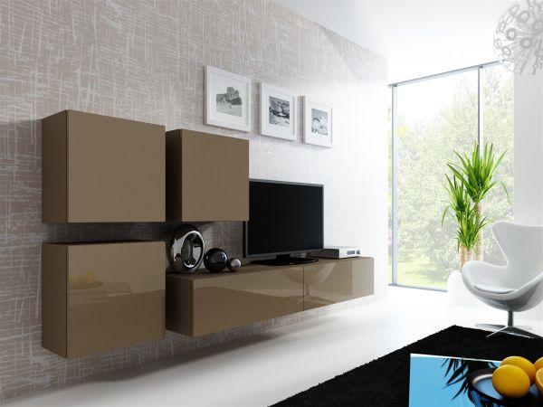 Mediawand Wohnwand 4 tlg - MyMix 2 - Latte Hochglanz