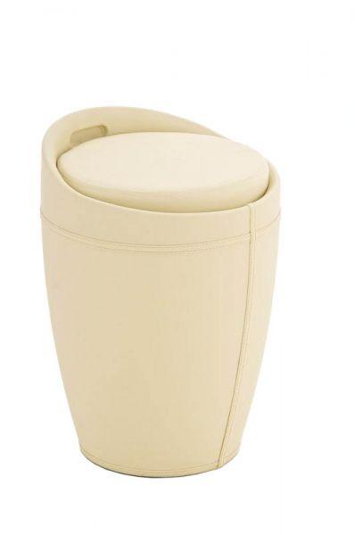 Sitzhocker - Amy - Hocker Sessel Kunstleder Creme 30x30 cm