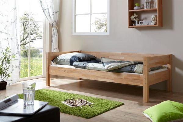 tagesbett bett roksi buche massiv natur lackiert 90x200 cm fun m bel. Black Bedroom Furniture Sets. Home Design Ideas