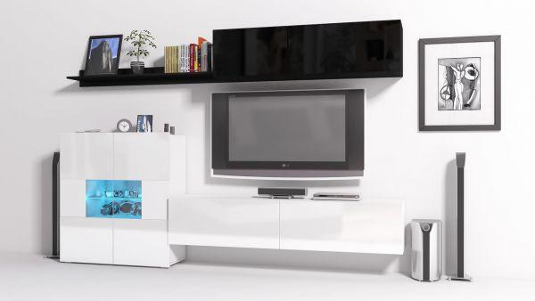 Mediawand Wohnwand 6 tlg - Konzept 10 - Weiss / Schwarz HGL + LED
