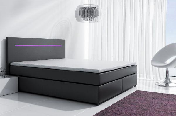 Boxspringbett Schlafzimmerbett BOLOGNA Schwarz inkl.LED 140x200 cm