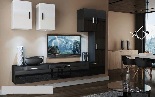 Mediawand Wohnwand 8 tlg - Bedox 4 - Schwarz- Weiss Hochglanz Nr.1+LED