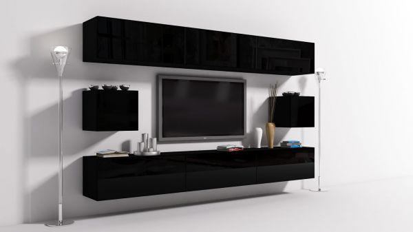 Mediawand Wohnwand 8 tlg - Konzept 24 - Schwarz Hochglanz