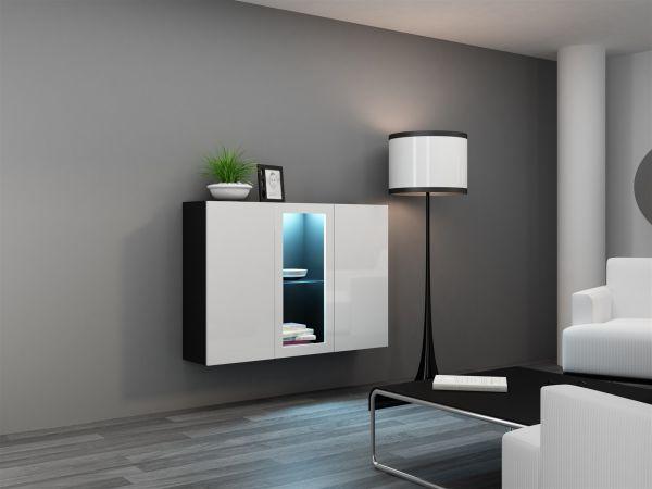 "Sideboard Hängesideboard ""LUGO"" 120x38x90 cm Schwarz/Weiss HGL mit LED"
