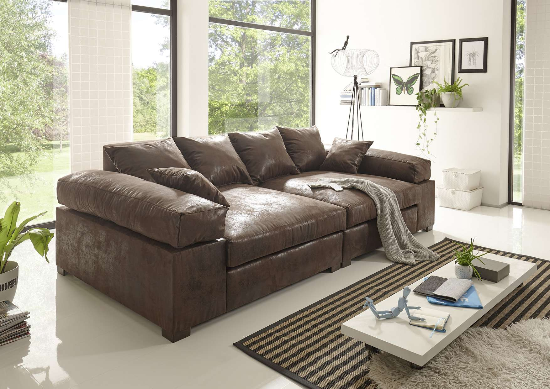 Big Sofa Couchgarnitur Megasofa Riesensofa AREZZO Vintage Braun