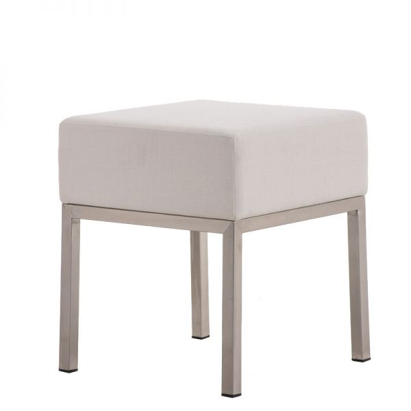 Sitzhocker - LONI - Schminkhocker Hocker Sessel Stoff Weiss 40x40 cm