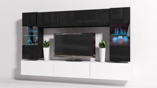 Mediawand Wohnwand 8 tlg - Konzept 27 - Weiss /Schwarz Hochglanz + LED