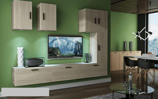 Mediawand Wohnwand 8 tlg - Bedox 4 - Sonoma matt inkl.LED Beleuchtung
