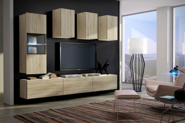 Mediawand Wohnwand 7 tlg - Konzept 4 - Sonoma matt mit LED-Beleuchtung