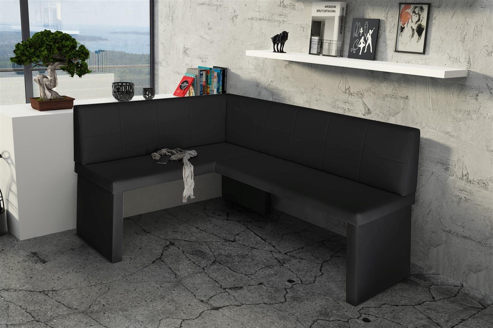 eckbank bank k chenbank 168 x 128 cm robin r kunstleder schwarz fun m bel. Black Bedroom Furniture Sets. Home Design Ideas
