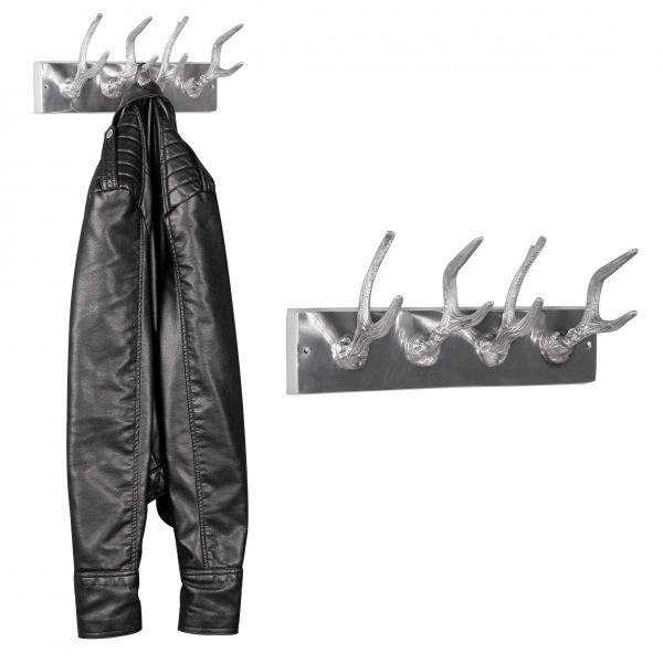 Garderobenhaken 4er Hirschhörner aus Aluminium Hörner Farbe Silber