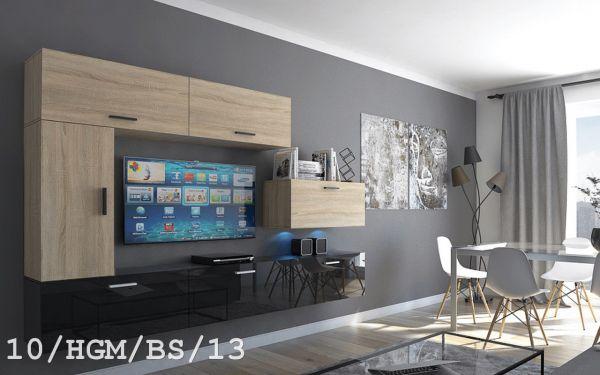 Mediawand Wohnwand 7 tlg - Bedox 3 -Sonoma matt- Schwarz HGL Nr.3 +LED