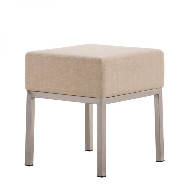 Sitzhocker - LONI - Schminkhocker Hocker Sessel Stoff Creme 40x40cm