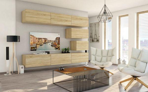 Mediawand Wohnwand 8 tlg - Konzept 38 - Sonoma matt