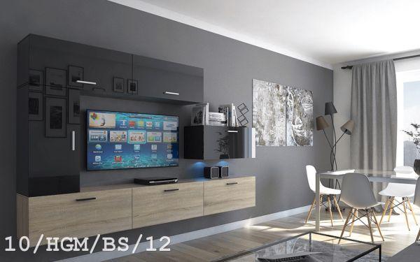 Mediawand Wohnwand 7 tlg - Bedox 3 -Sonoma matt- Schwarz HGL Nr.2 +LED