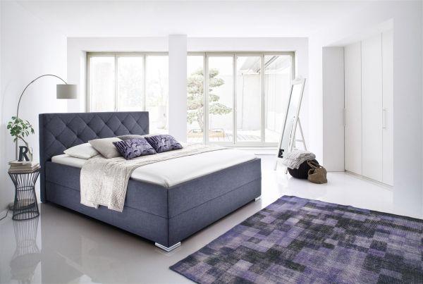 Polsterbett Bett Doppelbett - TULSA-140x200 cm im Stoffbezug Anthrazit