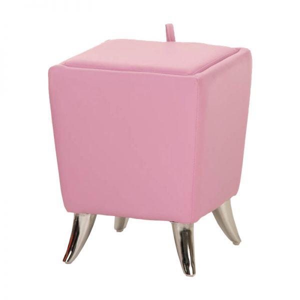 Sitzhocker - Ria - Hocker Schminkhocker Kunstleder Pink 36x36 cm
