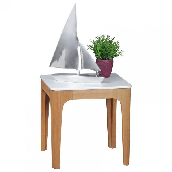Beistelltisch Tisch MAGNUS 50x50 cm Weiss lackiert / Esche