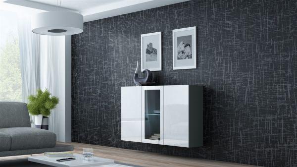 """Sideboard Hängesideboard """"LUGO"""" 120x38x90 cm Grau/ Weiss HGL mit LED"""