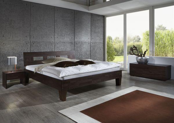 Massivholzbett Schlafzimmerbett - Ritz - Bett Buche -Wenge 200x200 cm