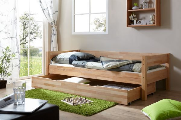 Tagesbett-Bett ROKSI Buche Massiv 90x200 cm inkl.Schubkasten