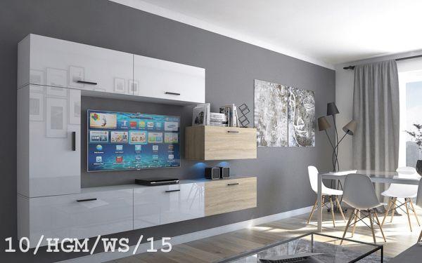 Mediawand Wohnwand 7 tlg - Bedox 3 -Weiss HGL- Sonoma matt Nr.2 +LED