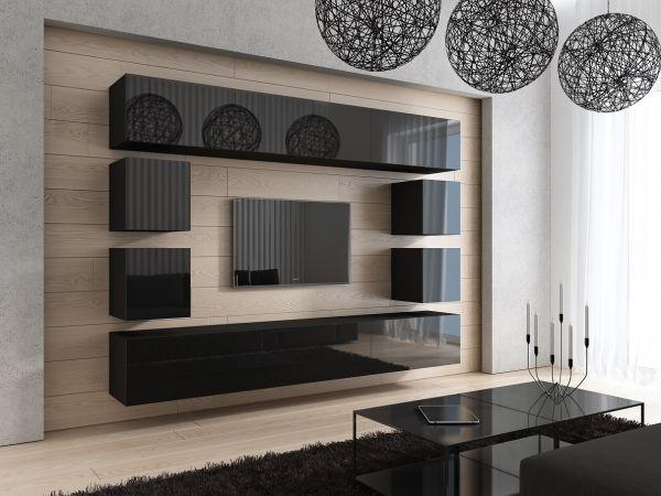 Mediawand Wohnwand 10 tlg - Konzept 17 - Schwarz Hochglanz