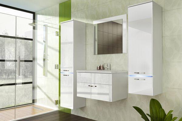 Badmöbel Set 5-Tlg Weiss Badezimmerset - Liva-inkl.Waschtisch inkl.LED