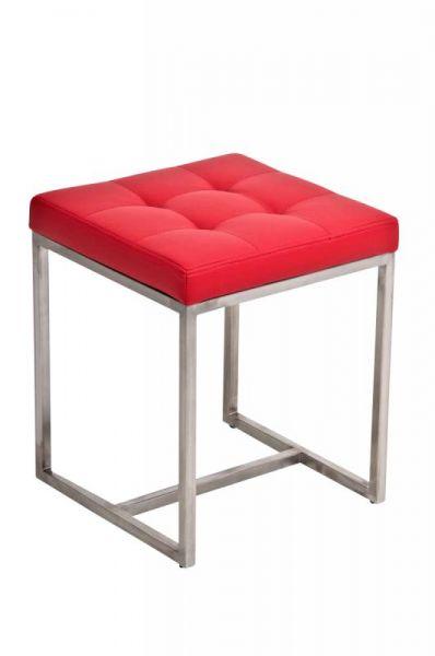 Sitzhocker - BRIT 2 - Hocker Sessel Kunstleder Rot 40x40cm