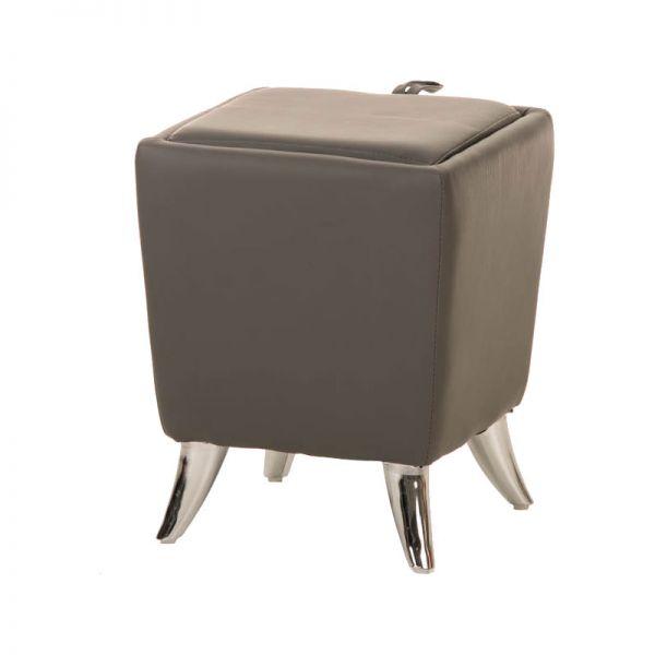 Sitzhocker - Ria - Hocker Schminkhocker Kunstleder Grau 36x36 cm