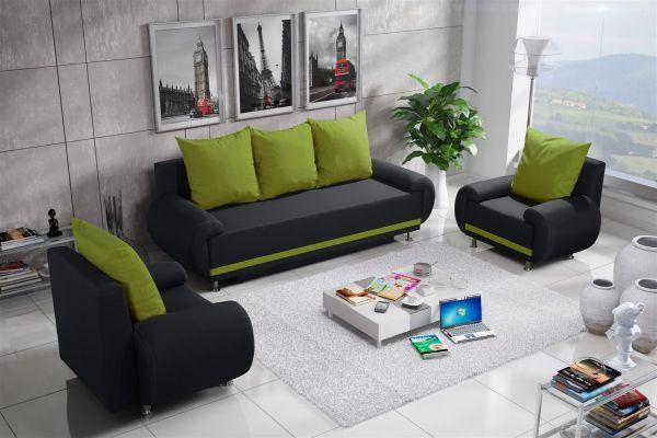 Sofa Set MIKA 3-1-1 Sofagarnitur in Polyesterstoff Anthrazit/ Limette