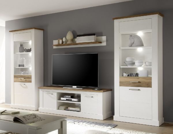 wohnwand schrankwand 4 tlg naturell pinie weiss nussbaum sattin fun m bel. Black Bedroom Furniture Sets. Home Design Ideas