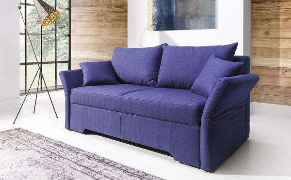 Sofa 2 Sitzer Mit Schlaffunktion Hannah Webstoff Marineblau Fun