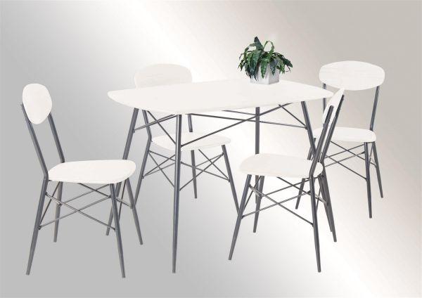Tischgruppe GENUA 5-teilige Essgruppe - Weiss / Gestell Silber