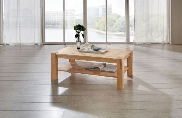 Couchtisch Tisch MORITZ Eiche vollmassiv / Echtholz 70 x 70 cm