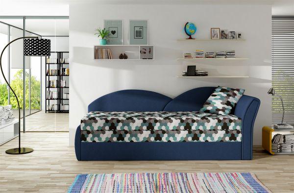 Sofa Schlafsofa inklusive Bettkasten ALINA / R - Dunkelblau / Muster