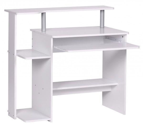 Computertisch Schreibtisch - VIS - Weiß Dekor mit viel Ablage