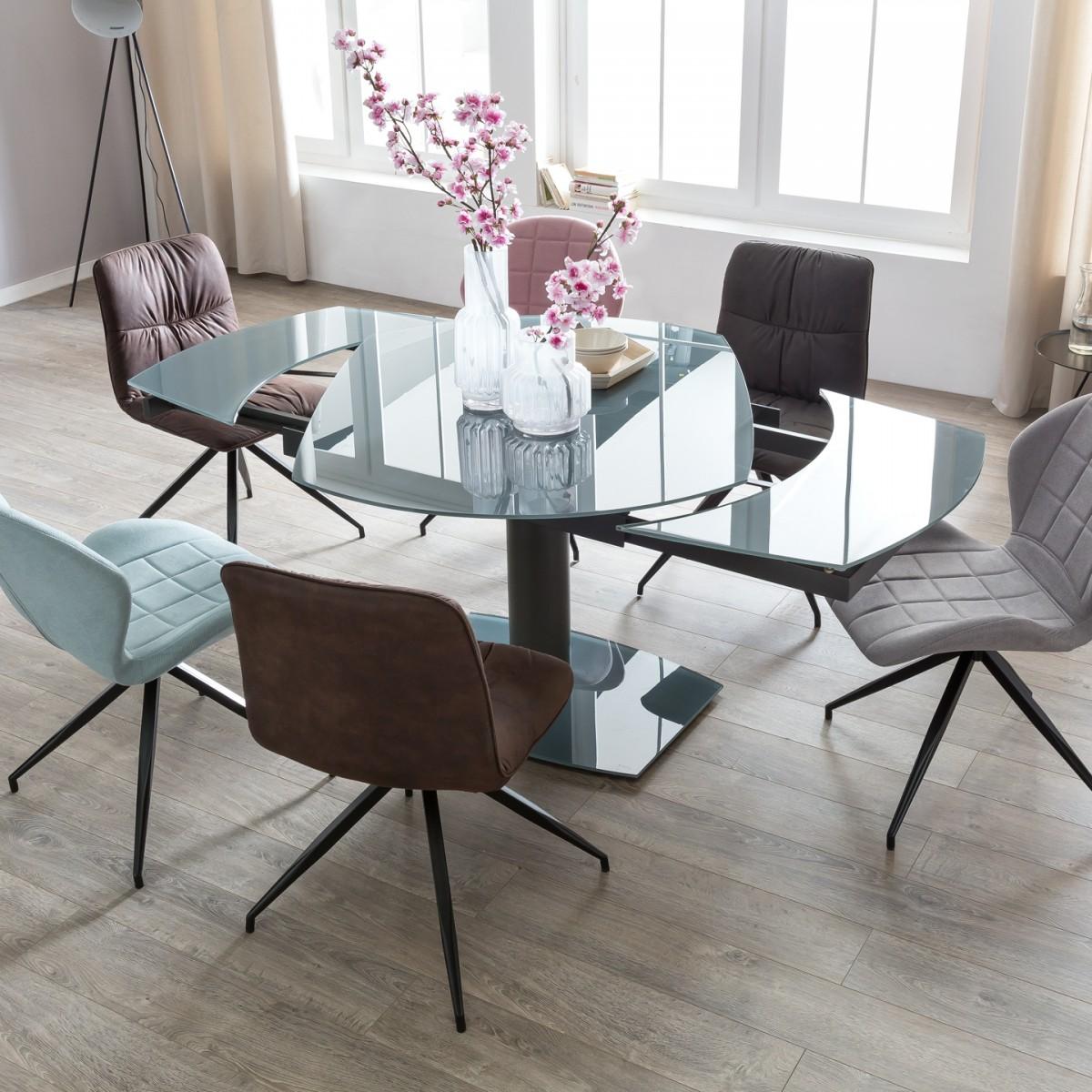 esstisch ausziehbar dunkelgrau metall glas salerno 120 180x90 cm fun m bel. Black Bedroom Furniture Sets. Home Design Ideas