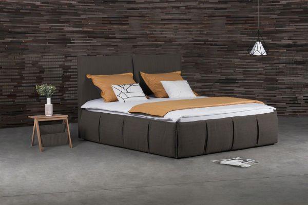 Polsterbett Doppelbett AGIS Stoff Braun 180x220cm