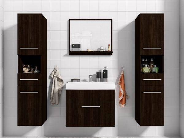Badmöbel Set 5-Tlg Wenge matt LIVO XL inkl.Waschtisch