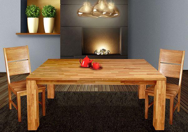 """Esstisch Tisch """"BEA"""" 180x90 cm Eiche massiv geölt / Fuß 115 x115 mm"""