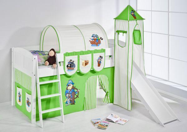 Spielbett mit Rutsche,Turm, Vorhang -LANDI/S -Pirat Grün -Kiefer Weiss