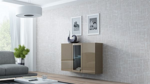 """Sideboard Hängesideboard """"LUGO"""" 120x38x90 cm Latte Hochglanz inkl. LED"""