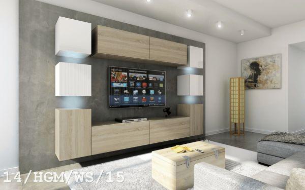 Mediawand Wohnwand 10 tlg - Konzept 40 Nr.2 - Sonoma matt / Weiss HGL