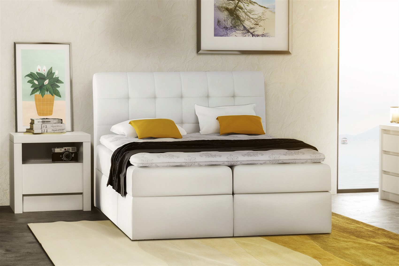 boxspringbett schlafzimmerbett turin kunstleder weiss. Black Bedroom Furniture Sets. Home Design Ideas